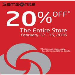 Coupon for: Save at Samsonite store (Canada One Factory Outlets)