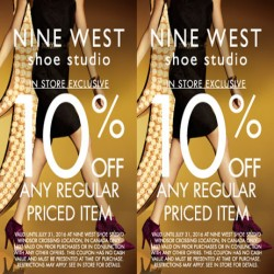 Coupon for: Nine West Shoe Studio 10% off any regular priced item