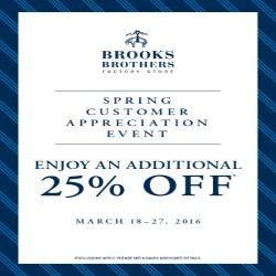 Coupon for: Brooks Brothers Factory Store  - Additional 25% off