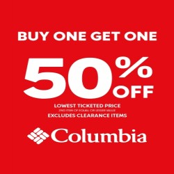 Coupon for: Columbia  - Buy any one item and get the second item at 50% off