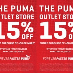 Coupon for: Windsor Crossing Premium Outlets - Puma - 15% off entire purchase