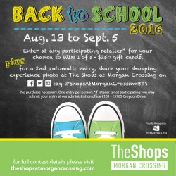 Coupon for: The Shops Morgan Crossing - Back to School Contest