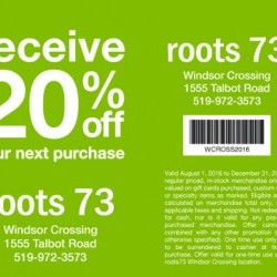 Coupon for: Crossing Premium Outlets - Recieve 20% off your next purchase at Roots 73