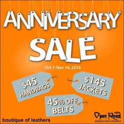 Coupon for: Midtown Plaza - 45TH ANNIVERSARY SALE AT BOUTIQUE OF LEATHERS!