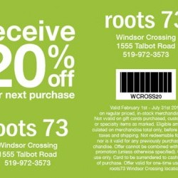 Coupon for: Windsor Crossing Premium Outlets - Roots 73 - receive 20% off from your next purchase.