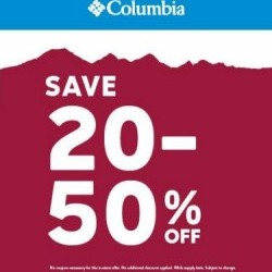 Coupon for: King's Crossing Fashion Outlets - Columbia Sportswear Company - 20-50% OFF Entire Store