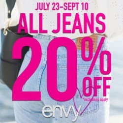 Coupon for: Halifax Shopping Centre - 20% off all Jeans at Envy